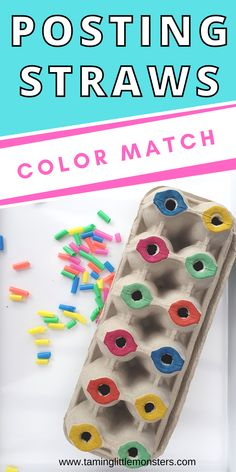 Develop fine motor skills with this easy egg carton color sort activity for toddlers. All you need are 5 minutes and some craft supplies. Help your kids learn colors, fine motor skills, vocabulary and more #finemotor #toddlers Fine Motor Activities For Kids, Early Learning Activities, Learning Shapes, Sorting Activities, Learning Colors, Preschool Activities, Preschool At Home, Toddler Preschool, Colour Activities