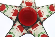 Nether Star- red and green floral motif, lacquered paper on glass, 9.5 inch star, red tulips star  kurtknudsen.etsy.com