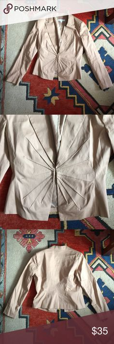 "Stylish Blazer Pre-loved in good condition. Tan blazer with fun design on torso. Single gold clasp closure. Delicate shoulder pads. Size 12. Approximately 23"" long. From NY&C ""stretch"" collection. 97% cotton, 3% spandex / 100% polyester (lining). New York & Company Jackets & Coats Blazers"