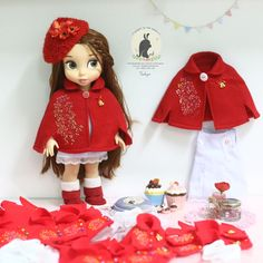 Red embroidery . Doll clothes for Disney animator doll 16""
