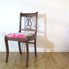 Antique Accent Chair - Occasional Chair with Eclectic Woodland Fabric - Etsuko Furuya - Muslin, Purple, Fuschia, Orange, Lime, Turquoise