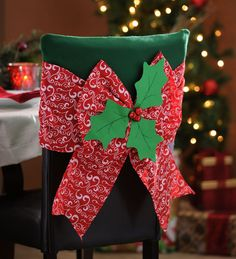 Our Christmas Bow Chair Covers will add a burst of holiday cheer to your dining décor! Christmas Chair Covers, Christmas Cover, Christmas Bows, Christmas Items, Simple Christmas, All Things Christmas, Handmade Christmas, Christmas Crafts, Christmas Ornaments