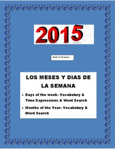 Dias de La Semana y Meses -Vocabulary Practice - Months & Days -Spanish  from La Señora H on TeachersNotebook.com -  (5 pages)  - This complete package will allow you to review Days of the Week and Months of the Year vocabulary in Spanish. You can use it as an assessment tool.