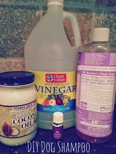 1/2 cup of distilled white vinegar 1 TBS coconut oil 5 TBS Dr Bonners Castile soap 10 drops of essential oil 2 cups of warm water  I put all the ingredients into an old shampoo bottle and mixed well.