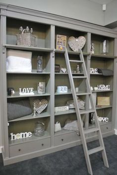Grey-Fayence-Library-Bookcase-with-Ladder-Grey-Bookcase-with-Ladder-Bookcase: