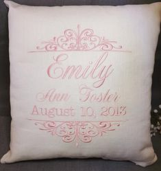 Items similar to Birth Announcement Baby pillow, baby pillow, embroidered baby pillow, custom baby pillow, personalized baby pillow on Etsy Pillow Embroidery, Baby Sewing Projects, Sewing Ideas, Baby Pillows, Throw Pillows, How To Make Pillows, Personalized Baby, Monogrammed Ideas, Baby Crafts