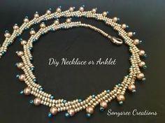 video: beaded necklace ~ Seed Bead Tutorials Beaded Necklace Patterns, Seed Bead Necklace, Seed Bead Jewelry, Bracelets, Lace Bracelet, Herringbone Stitch, Necklace Tutorial, Beading Tutorials, Anklets