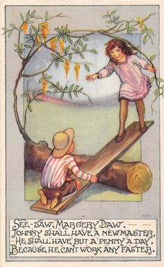POSTCARD CHILDREN NURSERY RHYMES See Saw Margery Daw MMH | eBay
