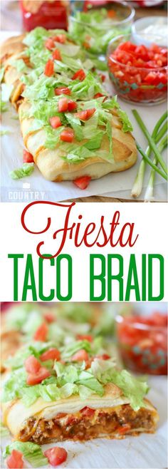 Fiesta Taco Braid recipe from The Country Cook. So simple and so yummy - a family favorite! #Mexican