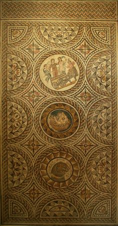 Mosaic from the House of Liber Pater, Triumph of Bacchus and Ariadne (general), Roman Museum of Sabratha, Libya.