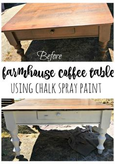 Farmhouse coffee table using chalk spray paint.  This table was purchased at a thrift store for a bargain.  With just a little time and some chalk spray paint is now has fixer upper style.  A simple DIY and budget friendly. Furniture painting for home decor is a great way to update a look easily.