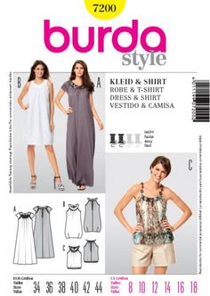 Patron de robe et t-shirt (robe blanche) - Burda 7200