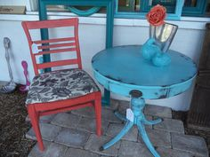 Bright Coral Chair and Heavily Distressed Aqua Table. Modern Vintage