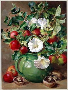 """Apples & Convolvulus"" ~ Oil Painting by Ann Cotterill, British Artist  ...."