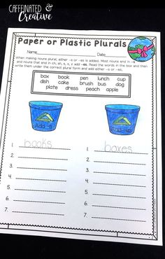Teaching kids to use -s or -es can be difficult. Help them practice using Paper or Plastic Plurals. This is part of a Spring Literacy and Math No Prep Bundle for Second Grade that is full of no prep ELA and math printables for the entire season! This unit covers spring, St. Patrick's Day, Easter, Earth Day and Cinco de Mayo!