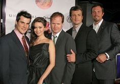 Sean Maher, Summer Glau, Joss Whedon, Nathan Fillion, Adam Baldwin (Simon, River, the creator, Capt. Reynolds and Jayne)at LA Premiere of 'Serenity' September 22, 2005 - Universal City, CA