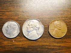 3 Clipped Error Coins 1973D Roosevelt Dime 1964D Jefferson Nickel 1944 Lincoln Cent Clipped Error Coin Coins - Great Error Coins! by EagleDen on Etsy