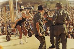 Joey Heatherton on a Bob Hope USO tour  Viet Nam - getting the guys up on stage to dance with her