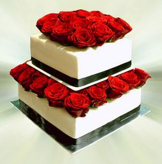 wedding cake with red roses 2 Tier Wedding Cakes, Types Of Wedding Cakes, Wedding Cake Red, Floral Wedding Cakes, Wedding Cupcakes, Wedding Stuff, Wedding Ideas, Birthday Cakes Dubai, Red Birthday Cakes