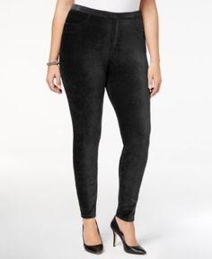 Style & Co Plus Size Comfort-Waist Corduroy Leggings, Created for Macy's - Black 2X
