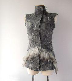 Felted vest  seamless grey raw wool fur by galafilc on Etsy, $167.00