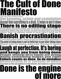The Cult Of Done Manifesto (oldies but goodies)
