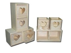 (PD11) New Plain Wooden Jewellery Chest - drawers with hearts :) decoupage heart | eBay