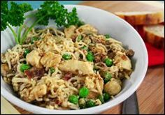 Healthy Chicken Carbonara - Yum - I want to try these Shirataki noodles!  Hungry Girl website had directions on use.