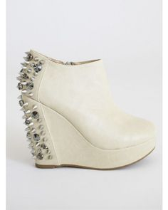 Ivory Wedge Booties with Spikes and Rhinestones