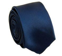 Solid Navy Blue SLIM Necktie . 2.25' wide (Q3000-G)