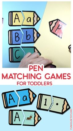 This easy Alphabet, Letter Sound and Number Matching Game is just perfect for preschooler. Learning the Capital and Lower Case Letter that belong together. Get these printables in color or black and white version. Kindergarten Centers, Kindergarten Learning, Preschool Learning Activities, Preschool Activities, Preschool Learning Games, Alphabet Games For Kindergarten, Number Games Preschool, Letter Games, Letter Activities