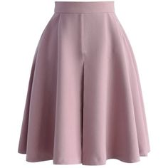 Chicwish Spring Mood A-line Skirt in Lilac ($42) ❤ liked on Polyvore featuring skirts, bottoms, pink, a line skirt, pink pleated skirt, purple a line skirt, knee length pleated skirt and foldover skirt