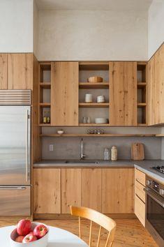 Kitchen Design Modern Grey Countertops Ideas For 2019 Natural Wood Kitchen Cabinets, Concrete Kitchen, New Kitchen Cabinets, Kitchen Countertops, Kitchen Wood, Kitchen Backsplash, Wood Cabinets, Concrete Countertops, Kitchen Cupboard