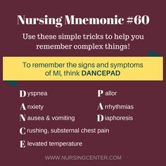 Nursing Mnemonic - Myocardial Infarction