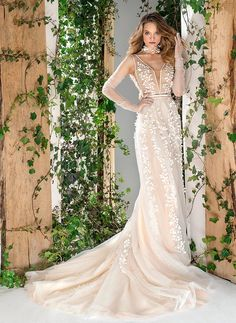Style #1818L, plunging neckline a-line wedding dress with handmade 3-D floral embroidery down the skirt, available in ivory and caramel