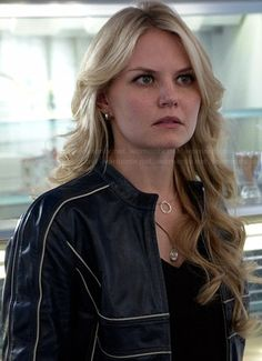 Emma's blue leather jacket with white trim on Once Upon a Time.  Outfit Details: http://wornontv.net/41715/ #OUAT