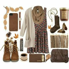 Brown cream cardigan jacket dress flower scarf boots