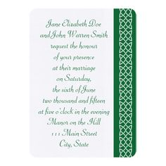 Celtic Weave Hearts in Green Wedding Invitation