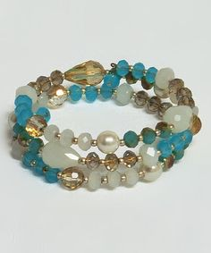 Love this Turquoise & White Bead Wrap Bracelet by The Alabama Girl on #zulily! #zulilyfinds