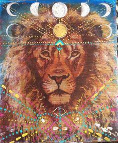 Hand Painted bois Original impression Lion par MariposaGalactica