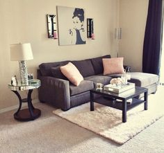 My Living Room   Audrey Hepburn Pic: Ikea Side Table: Z Gallerie Couch:  Living Spaces   Amazing House Design