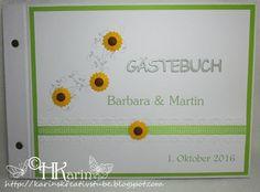 """Karins Kreativstube: Gästebuch / Menükarten Hochzeit """"Barbara & Martin""""... Blog, Flowers, Creative, Blogging"""
