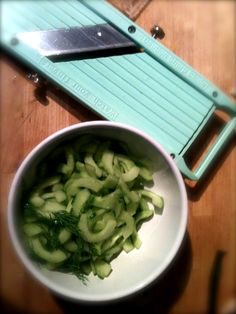 Cucumber, deseeded and sliced ready for pickling with dill and sweet vinegar