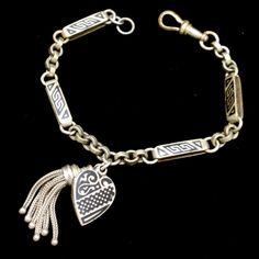 Enamel Watch Chain Charm Bracelet with Tassel and Heart Vintage