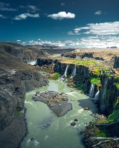 Iceland has one of the most dramatic landscapes in the world. This is a beautiful example of the cliffs and waterfalls that can be found there. Cool Places To Visit, Places To Travel, Beautiful World, Beautiful Places, Beautiful Scenery, Places Around The World, Around The Worlds, Landscape Photographers, Nature Pictures
