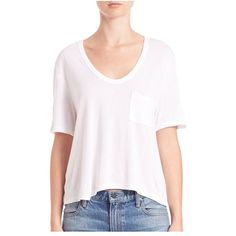 T by Alexander Wang Classic Cropped Tee (¥9,590) ❤ liked on Polyvore featuring tops, t-shirts, short-sleeve, white, crop t shirt, short sleeve tops, boxy white t shirt, boxy crop top and short sleeve tee