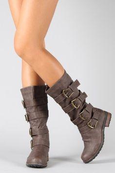 Studded Buckle Slouchy Mid Calf Boot