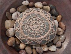 crochet lace stone // ecru // dark turquoise by TableTopJewels, $55.00