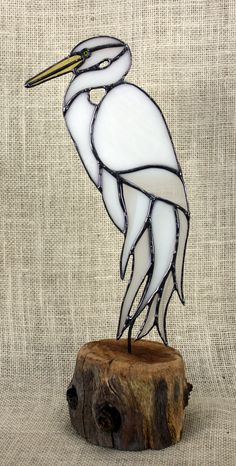 White Egret Stained Glass Bird on Wood Base Heron by BerlinGlass Stained Glass Quilt, Stained Glass Birds, Stained Glass Suncatchers, Stained Glass Designs, Stained Glass Projects, Stained Glass Patterns, Leaded Glass, Mosaic Glass, Glass Animals