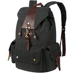 VBG VBIGER Canvas Backpack Vintage Canvas Leather Backpack Casual Bookbag Laptop Backpacks Travel Rucksack for Men Women Chic Backpack for Women Rucksack Backpack, Canvas Backpack, Laptop Backpack, Chic Backpack, Fashion Backpack, Messenger Bag, Backpack For Teens, Vintage Canvas, Black Leather Backpack